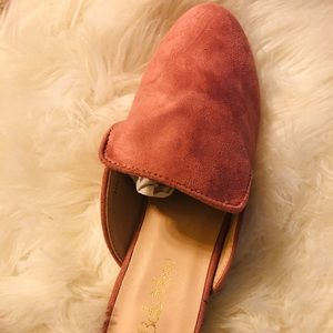Suede slip on loafer mule pearl accents on heel
